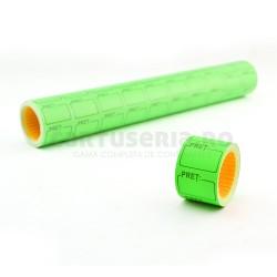 Set role etichete pret 25x35 fluorescente verde
