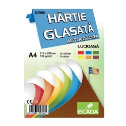 Hartie glasata autocolanta A4 6 culori