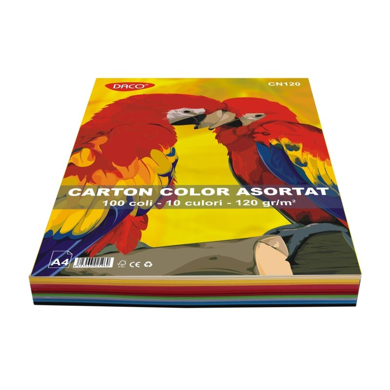 Carton color asortat A4 120g Daco 100 coli