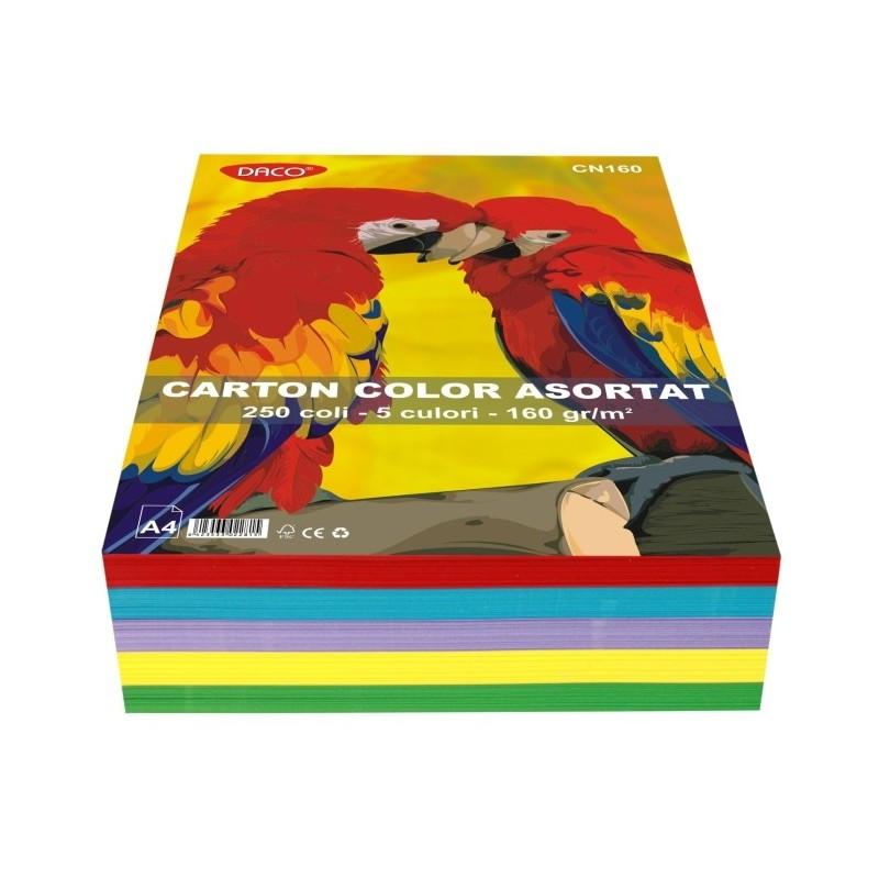Carton color asortat 160g A4 250 coli Daco