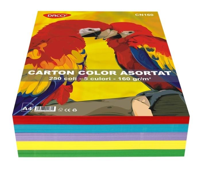 Carton Color Asortat 160g A4 250 Coli Daco Culori Carton: 10 Culori Asortate