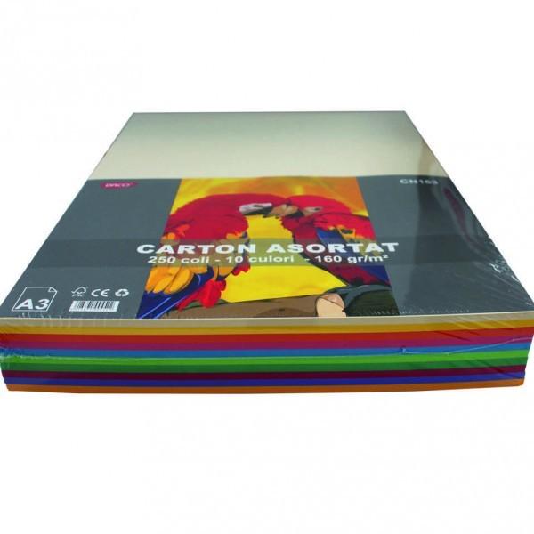 Carton Color A3 Asortat 160g 250 Coli Daco