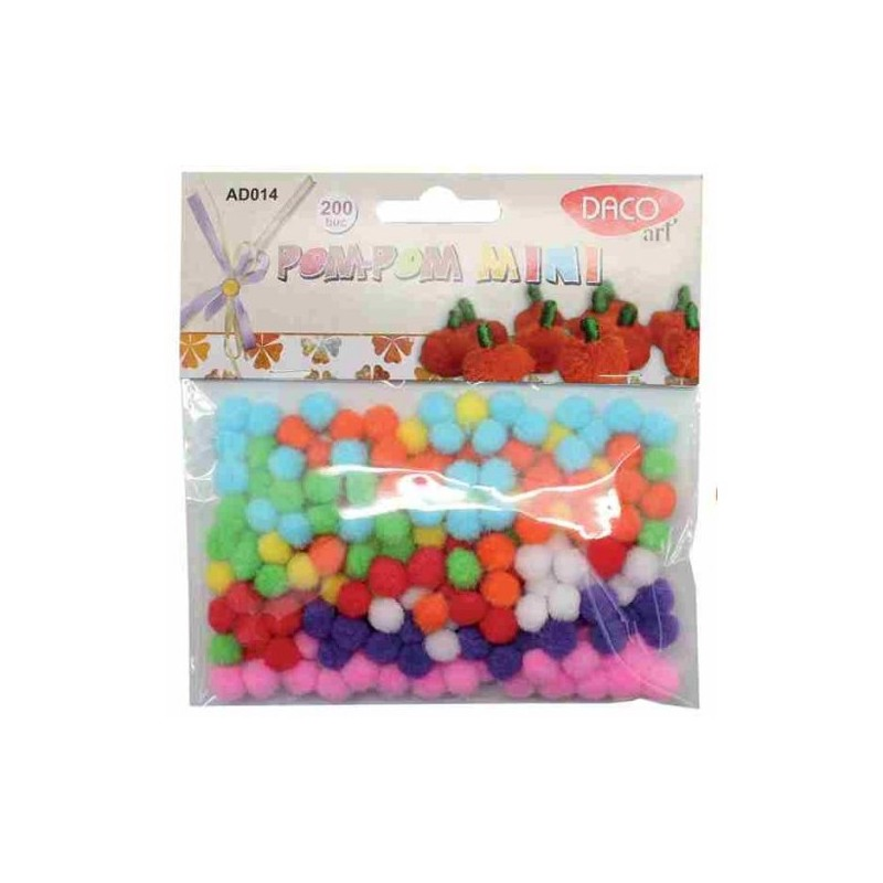 Mini pom-pom multicolor - set 200 bucati