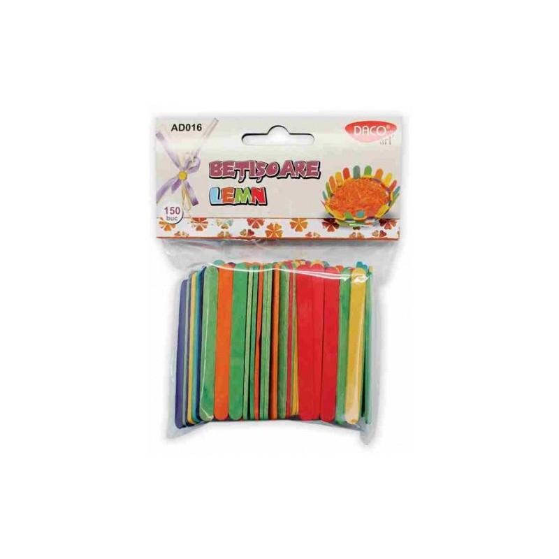 Betisoare de lemn multicolore - set 150 bucati
