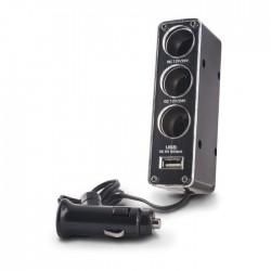 Adaptor bricheta auto 3 socket-uri si port USB