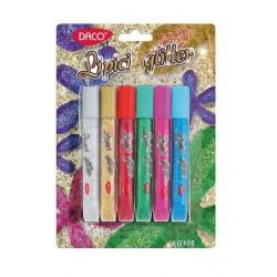 Lipici colorat cu sclipici set 6 culori Daco
