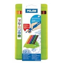 Cutie din plastic cu creioane colorate in 12 culori