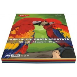 Hartie creponata colorata A4 asortata Daco