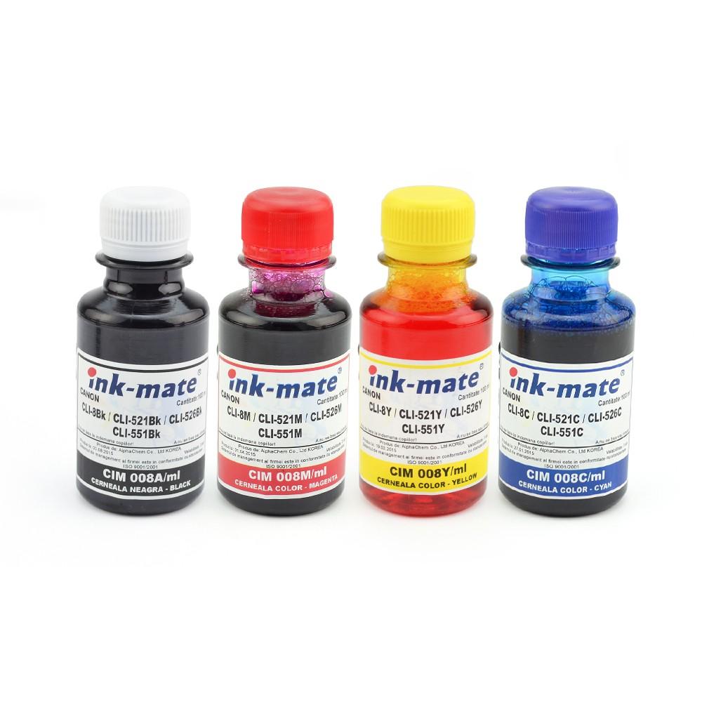 Set 4 Culori Cerneala Pentru Cartuse Reincarcabile Canon Cantitate: 100 Ml