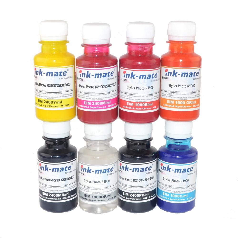 Cerneala Superchrome Pigment Pentru Epson R1900 R2000 Set 8 Culori Cantitate: 500 Ml