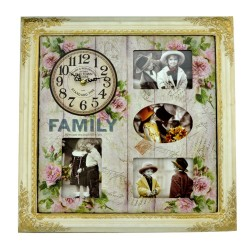 Rama foto Family cu ceas decorativ, lemn