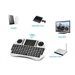 Mini tastatura Smart TV  XBox, PS, PC, Notebook cu touch pad, Alb Rii