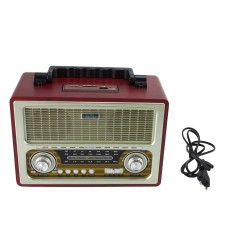 Radio portabil retro, bluetooth, 6W, MP3, USB, SD, 3 benzi AM FM SW, Sal
