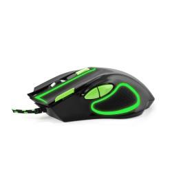 Mouse gaming, optic 2400 DPI, USB, cu fir, 7 butoane, iluminare verde, Esperanza