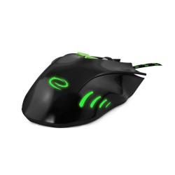 Mouse optic jocuri, fir, USB, 7 butoane, 2400 DPI, iluminare verde, Esperanza, negru-verde