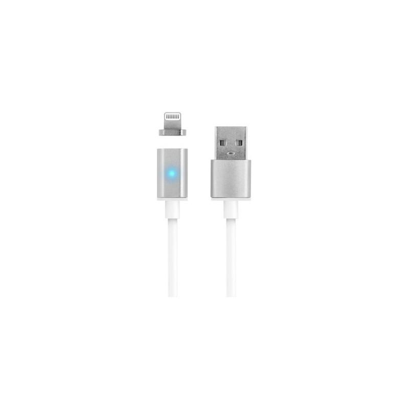Cablu magnetic iPhone Lightning, micro USB, LED, incarcare, transfer date, Forever, argintiu