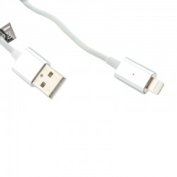 Cablu magnetic iPhone Lightning, micro USB, LED, incarcare, transfer date, Forever, argintiu