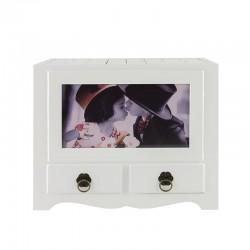 Album foto din lemn, cu 2 sertare, 10X15, 192 poze, personalizabil, alb