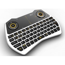 Mini tastatura Rii i28C, wireless, iluminata, touchpad, pentru Computer, Smart TV