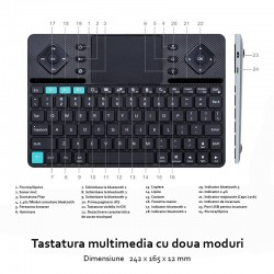 Tastatura Rii K16 multimedia Dual mode cu carcasa din aluminiu