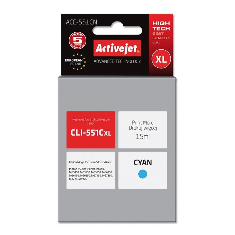 Cartus compatibil pentru Canon CLI-551C Cyan marca ActiveJet