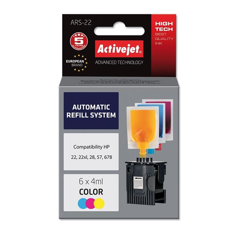Sistem Kit automat de refill color pentru HP 22 HP 28 HP 57 ActiveJet