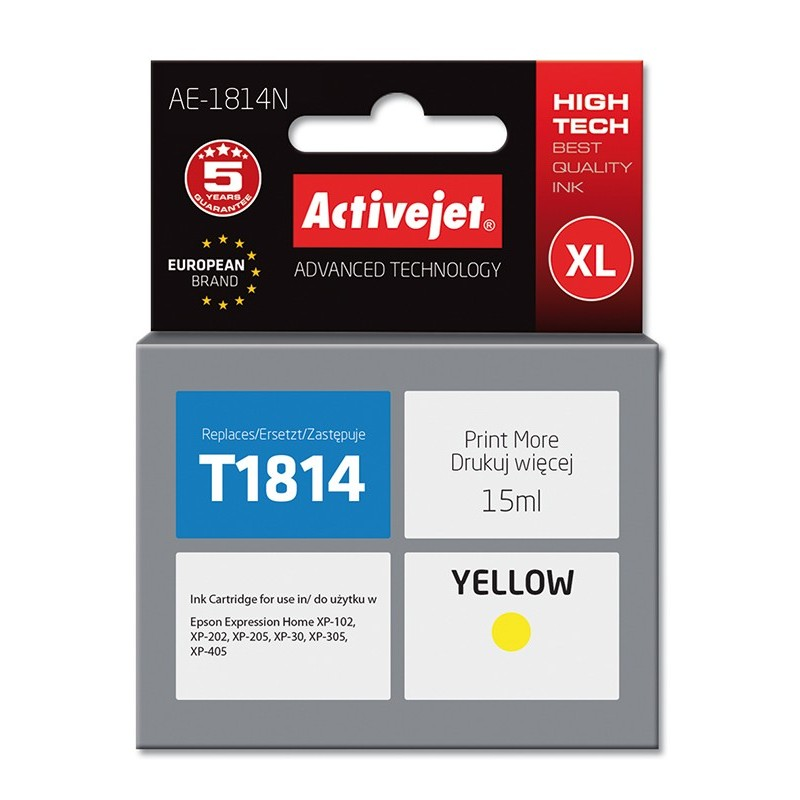 Cartus compatibil T1814 yellow pentru Epson C13T18144010, Premium Activejet, Garantie 5 ani
