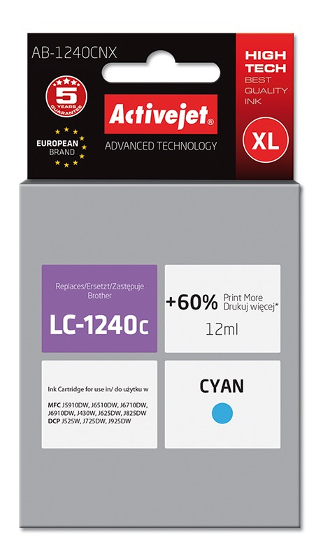Cartus Compatibil Ac-lc1240 Ac-lc1280 Xl Cyan Pentru Brother