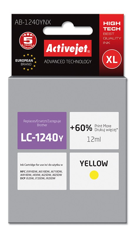 Cartus Compatibil Ac-lc1240 Ac-lc1280 Xl Yellow Pentru Brother