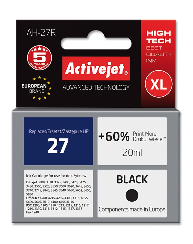 Cartus compatibil 27XL negru pentru HP C8727, Premium Activejet, Garantie 5 ani