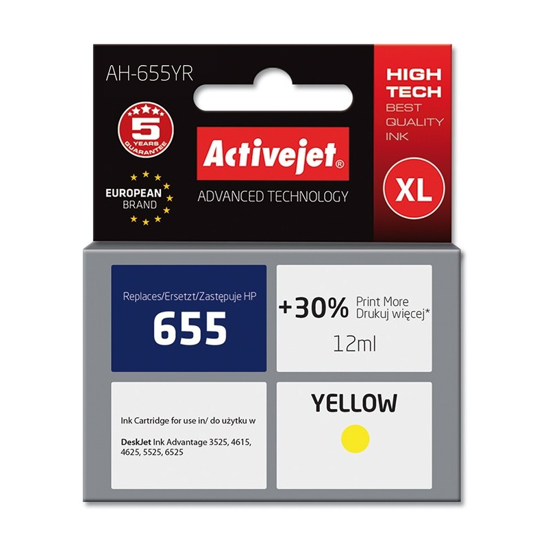 Cartus AC-HP 655XL yellow compatibil HP CZ112AE