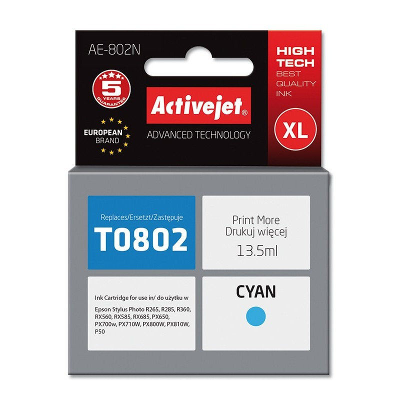 Cartus compatibil AC-T0802 cyan Epson C13T08024010