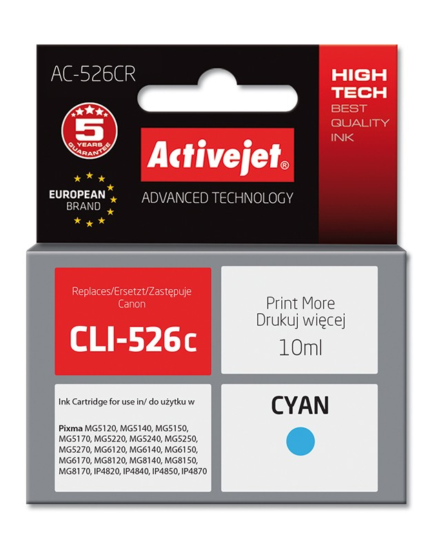 Cartus Compatibil Canon Cli-526c Cyan  10 Ml  Premium Activejet  Garantie 5 Ani