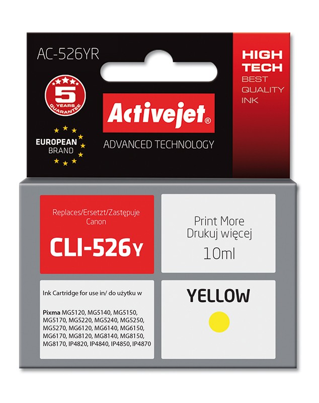 Cartus Compatibil Canon Cli-526y Yellow  10 Ml  Premium Activejet  Garantie 5 Ani
