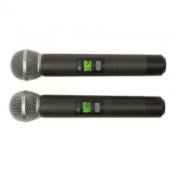 Set 2 microfoane wireless, 100 m, ecrane LCD, servieta aluminiu, SAL MVN 900