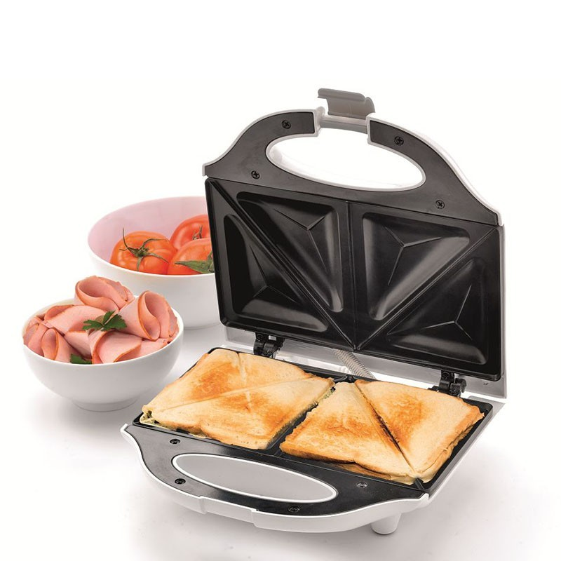 Sandwichmaker, 750W, suprafata antiaderenta, carcasa metal, alb, Home