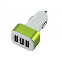 Adaptor bricheta auto, 3 porturi USB, pentru telefon si tableta, alb/verde