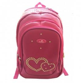Ghiozdan Pink Hearts, gimnaziu, 1 compartiment, 2 buzunare, Ecada