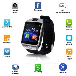 Ceas smart bluetooth 3.0, slot SIM, TF, 13 functii, Android 4.3, SoVogue, negru