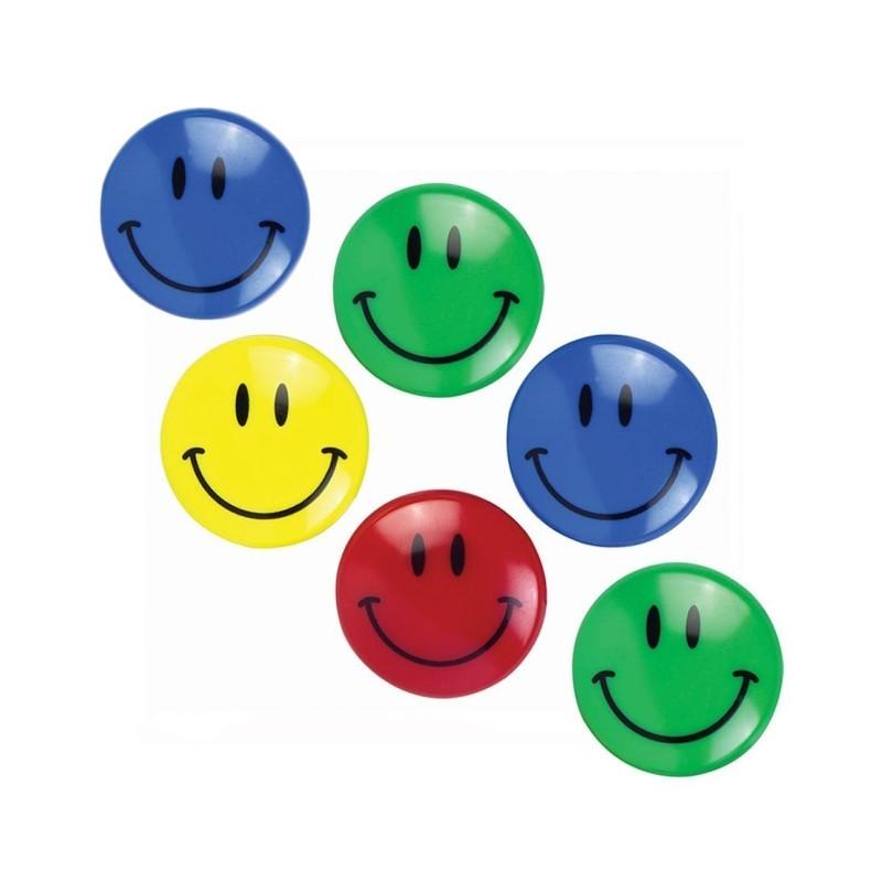 Magneti Smiley Face 30mm, multicolor, set 6 bucati