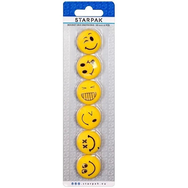 Set magneti Emoji, 6 emoticoane Smiley Face, 30mm, galben