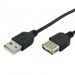 Cablu extensie USB 2.0, conector tata si mama, 1 metru, negru