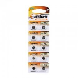 Baterii AG3/LR41, alcaline plus, 1.5V, set 10 bucati, Eurobatt