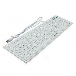 Tastatura slim interfata USB, cu fir, 107 taste, Activejet K-3016SW, Alb