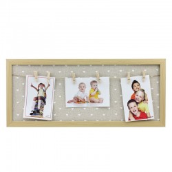 Rama foto multipla Avery, 3 poze, 23x54 cm, 6 carlige prindere, lemn, maro