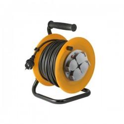 Prelungitor tambur, 4 prize impamantare, 30 m, 3x1,5 mm2, cadru metalic, IP44