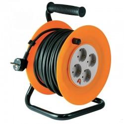 Prelungitor rola tip tambur, patru prize, 25m, cablu 3 x 1,0 mm2, negru,  IP20