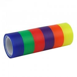 Banda adeziva colorata, 18 mm x 10 m, set 6 bucati