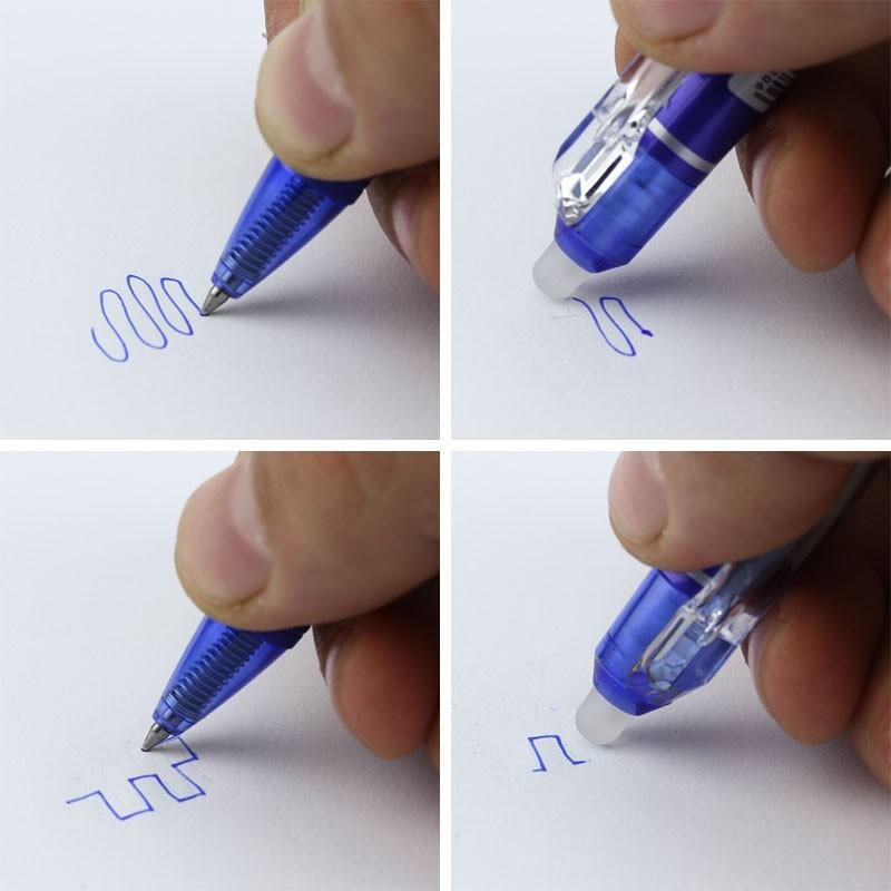Pix cu cerneala termosensibil, prevazut cu radiera, 0.5 mm, albastru