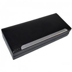 Etui PVC negru pentru 2 instrumente de scris, inscriptionabil